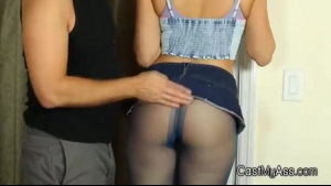 Blonde teen stroking her big milk jugs gives a nice handjob during POV casting
