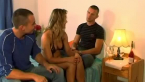 Hot Arab lady is getting banged by two black guys, on the sofa, at the same time