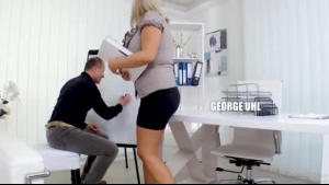 Super sexy blonde wife is getting fucked early in the morning, during warm- up
