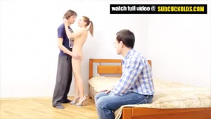 Slutty housewife is often getting banged in the kitchen, while watching a movie with her husband