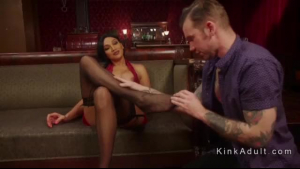 Blonde tranny in foot fisting