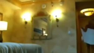 Blonde girlfriend is moaning from pleasure while having sex with her web cam guy, in a hotel room