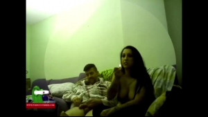 Spoiled brunette is riding a rock hard dick on the couch, while her other girlfriend is doing yoga